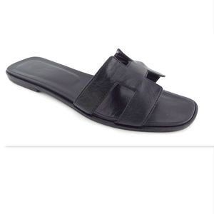 HERMES Black Leather H Logo Slide Flat Sandals 40